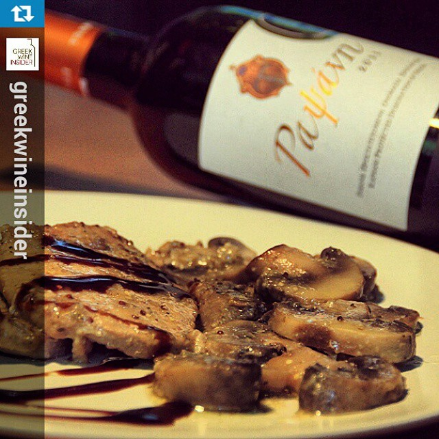 Looks #yummy  #Repost from @greekwineinsider with @repostapp — Enjoying weeks' new #recipe !! #pork #steak with #mushrooms #pairedwith #wine #greekwine #tsantali #rapsani #xinomavro #stavroto #krasato #greekwineinsider #lovegreekwine
