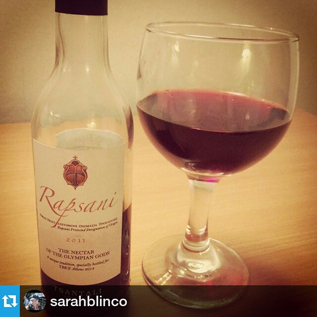 Excited to see our special #TBEXAthens #Rapsani being enjoyed! Cheers! #rapsanilover  #Repost from @sarahblinco with @repostapp — #Delicious, thank you @tsantali_wines! #tbex #tbexathens #special #tsantali #wine blend #redwine #travel #foodie #blogger #writer #thisisathens #greece @tbexevents #yum #cool #me #followme #traveller #traveling #love #happy