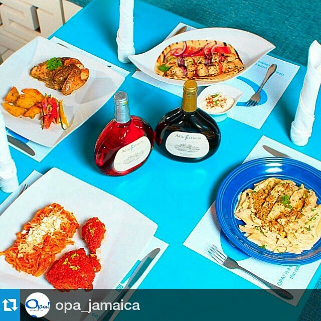 Cheers from Jamaica!!! #spreadgreekwine  #Repost @opa_jamaica #Chicken choices at #opajamaica  #LEMONATO oven-baked #KOTOSOUVLAKI grilled fillet #ATHENA creamy sauce, penne #KOKKINISTO tomato sauce, Greek egg noodles.  #Greek #food  #foodie #foodporn  #Open12to12 every day  #Tsantali #wine @tsantali