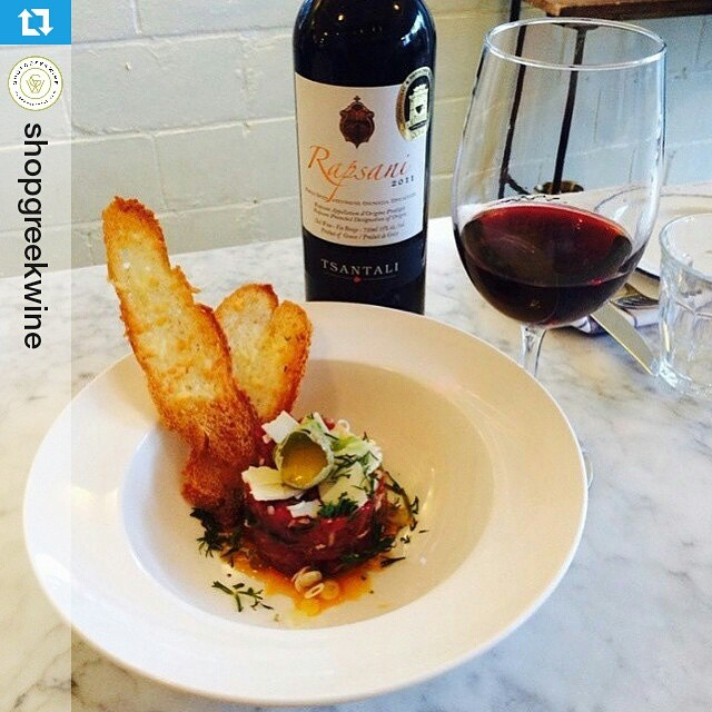 What about a Rapsani pairing idea from Canada?  #rapsanilover #Rapsani  #Repost @shopgreekwine ・・・ Tsantali Rapsani paired with organic Ontario Lamb Tartar at none other than @mamakastaverna #mamakastaverna #tsantali #rapsani #greekwine #drinkgreekwine #xinomavro #wine #tartar @tsantali