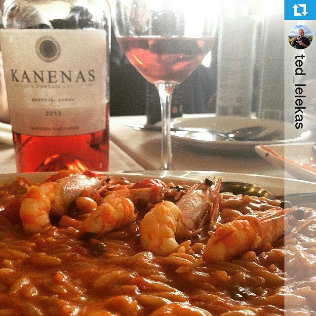 On a rainy day we bring spring on the table. Known for his #foodie skills as well, Ted Lelekas -the first Greek wine blogger- matches an uber #yummy shrimp orzotto with our #Kanenas Rosé. This strawberry fruit-forward blend of #mavroudi and #syrah with its mouth-watering acidity and rose petal finish is an awesome choice! #winelover #inmyglass #drinkGreek #mythinthebottle #wineisfun  #Repost @ted_lelekas ・・・ Λαχταριστό κριθαρότο γαρίδας με ΚΑΝΕΝΑΣ Ροζέ. #bliss